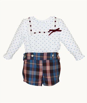 5c01a5524 Conjunto de bebé camisa plumeti y pantalón cuadros ...